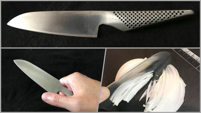 GLOBALの包丁は刀身と柄がオールステンレス一体構造でカッコいいぞ【愛用15年・錆知らず】