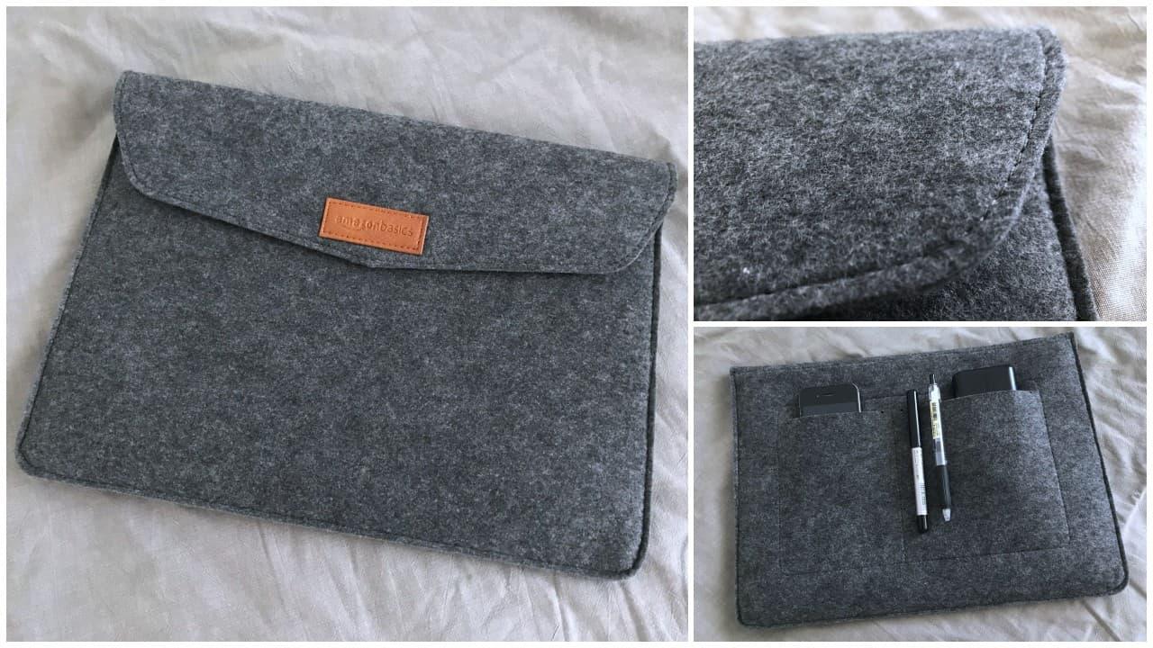 Amazonベーシックのノートパソコン用PCケースはフェルト製のスリーブタイプがおすすめ【普段使いもできる】